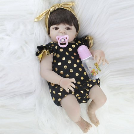 Bebê Silicone Reborn Fofinha Elisa com Vestidinho de Bolinha