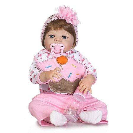 Bebê Reborn Cupcake Todinha em Silicone Lançamento 2017