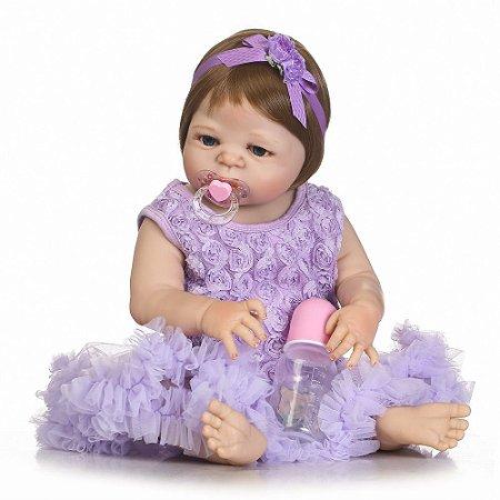 Bebê Reborn Blair com Maravilhoso Vestido Roxo Toda em Silicone