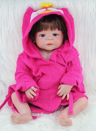Bebê Reborn de Roupão Toda em Silicone 55 cm