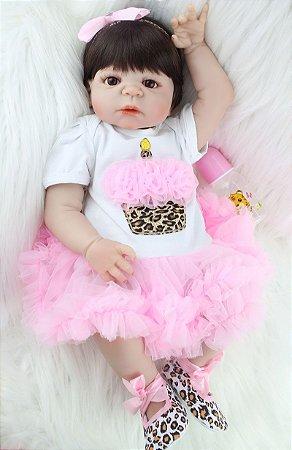 Bebê Reborn Stephanie com Corpo em Silicone Pode Dar Banho