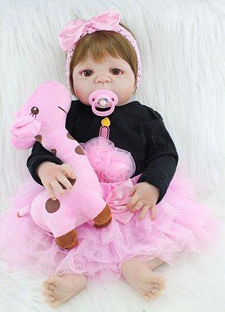 Bebê Reborn Juliane Inteira em Silicone de Olhos Castanhos 55cm