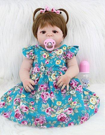 Bebê Reborn Luna com Lindo Vestido Estampado