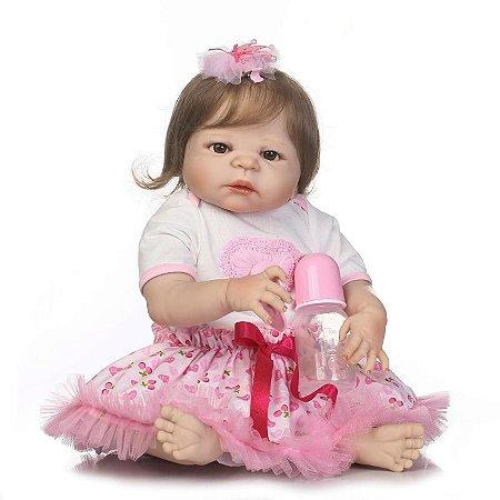 Bebê Reborn Nina de Silicone com Cabelo Liso