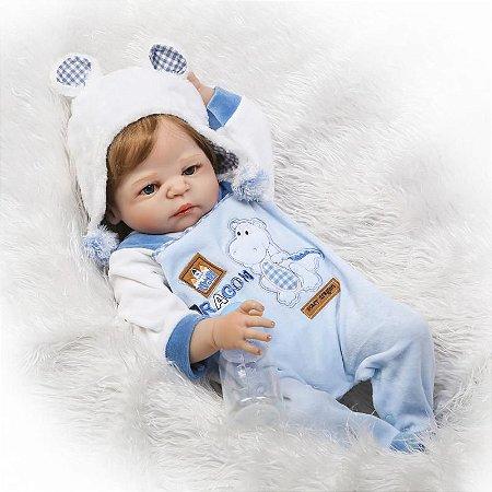 Bebê Reborn Gabriel com Roupinha de Inverno Todo em Silicone
