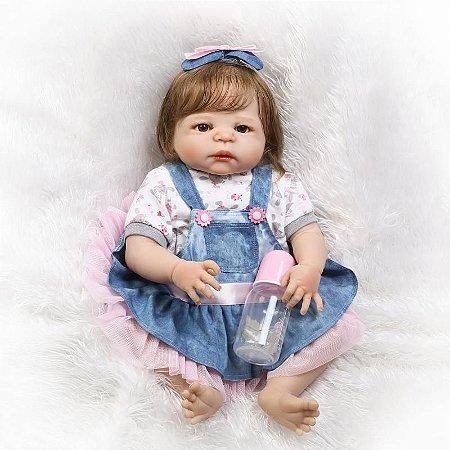 Bebê Grazi Reborn com Macacão Jeans Toda em Silicone