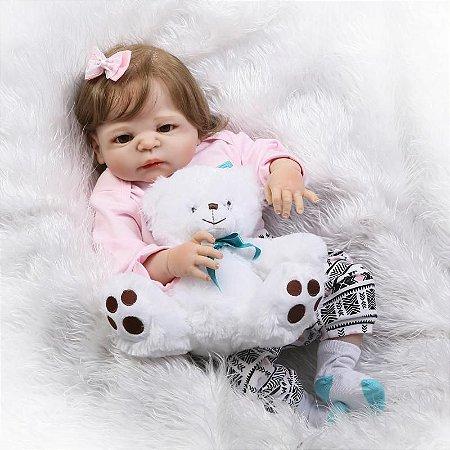 Bebê Reborn Paola Feita em Silicone com Lindo Ursinho