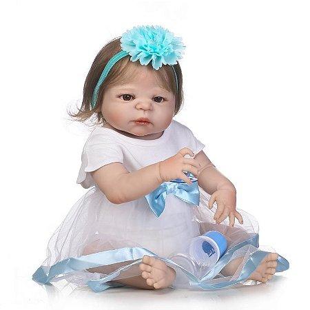 Bebê Reborn Gabriele 55cm com Chique Vestido Inteira em Silicone