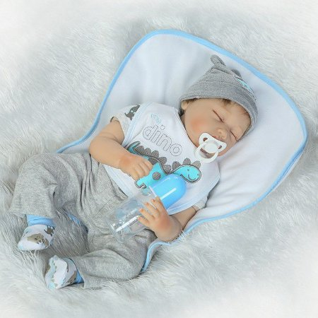 Bebê Reborn Dino Realista Exclusivo Lançamento com Cabelo Liso