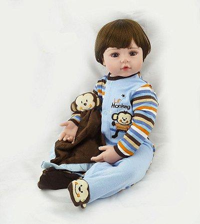 Bebê Reborn Alex com Enxoval Maravilhoso Completo 55cm