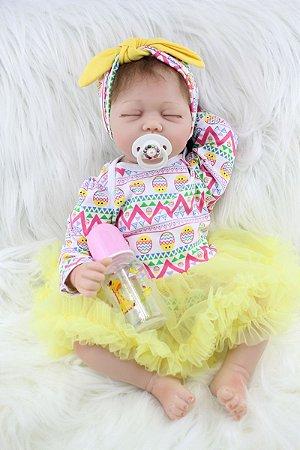 Bebê Reborn Marisol com Olhinhos Fechados 55cm