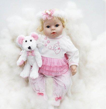 Boneca Reborn Exlusiva Little Angel com Ursinho