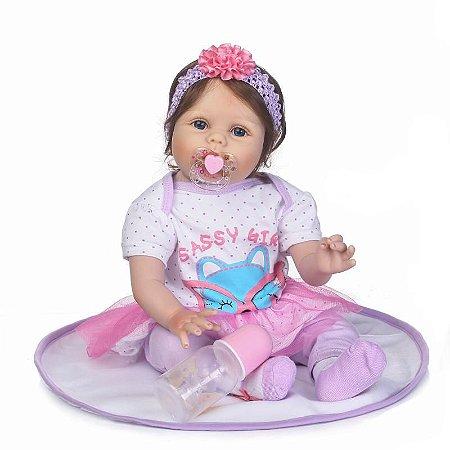 Bebê Sassy Reborn com 55 cm Lançamento  Enxoval Completo