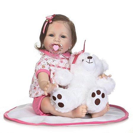 Bebê Reborn Nicola com Exclusivo Ursinho e Cabelo fio a fio