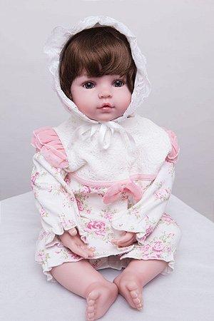 Bebê Reborn Any com Roupinha Vintage 55cm