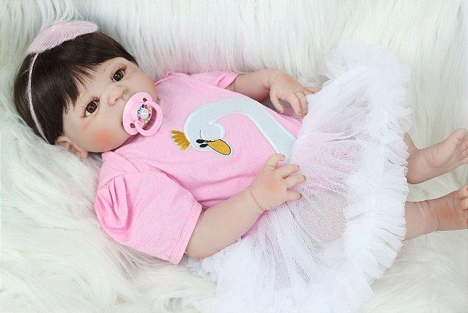 Bebê de Silicone Reborn Jessie com Brincos e Vestido - LANÇAMENTO