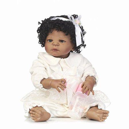 Bebê Reborn Sarah Inteira em Silicone com 55CM - Exclusividade