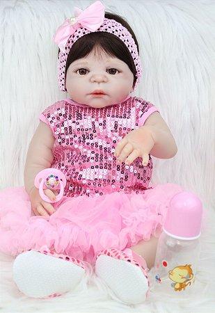 Bebe Reborn Rubia com Vestido Paetê Fashion - Exclusiva!