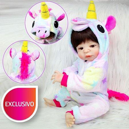 Nova Bebe Reborn Unicornio Kigurumi 55cm Inteira em Silicone - Venda Exclusiva