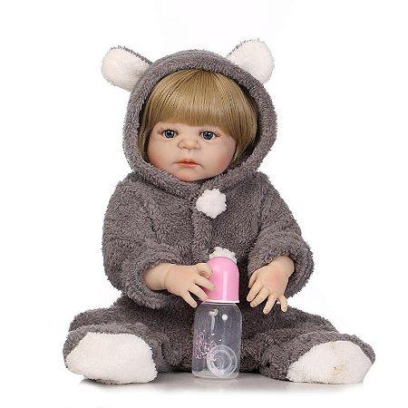 Bebe Reborn Silicone Roupa de Ursinho Menino ou Menina - Novidade Exclusiva