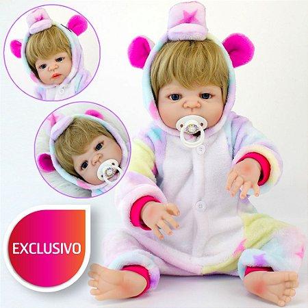 Bebê Reborn com Pijama de Unicórnio Kigurumi Estrelinha Menina com Corpo de Silicone Loira de Olhos Azuis
