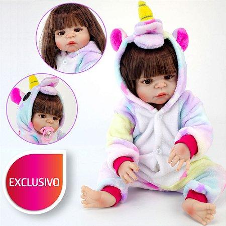 Bebê Menina Reborn com Pijama de Kigurumi Unicórnio Estrelinha, Cabelo Longo e Olhos Castanhos