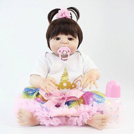 Bebê Reborn Charlote Estrela de Unicórnio 55cm