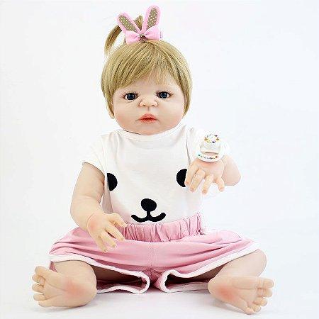 Bebe Reborn Tifany Loira Mega Estilosa Inteira em Silicone 55cm