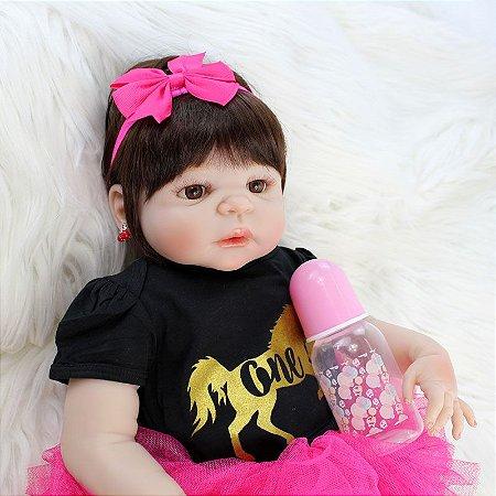 Bebe Reborn Pink Melody Inteira em Silicone com 55cm