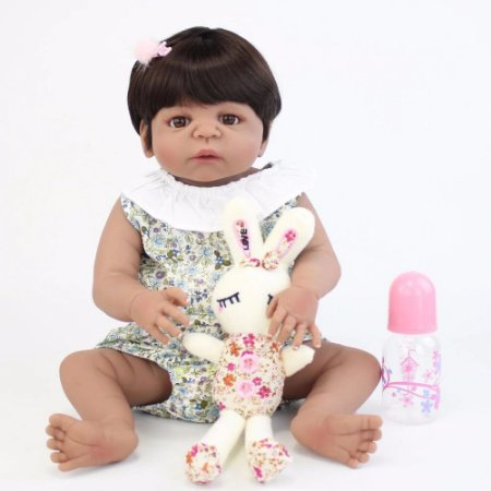 Bebe Reborn Carla Morena Linda com Ursinho 55cm - Inteira em Silicone