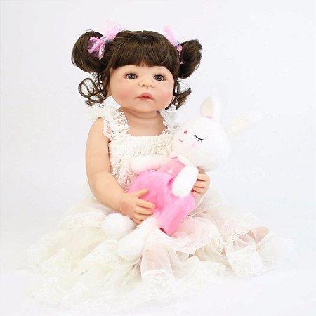 Bebe Reborn Janinha com 55cm - Inteira em Silicone Modelo 2019