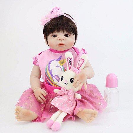 Bebê de Silicone Reborn Maia com ursinho, Inteira em Silicone 55cm