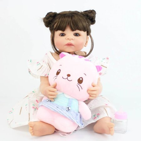 Bebê de Silicone Reborn Mia Inteira em Silicone 55cm com Ursinho Grátis