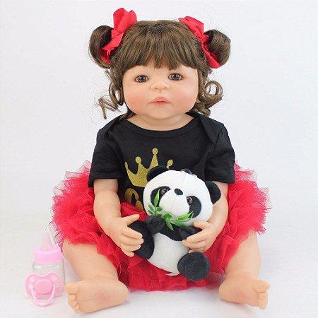 Bebe Reborn Lauren Look Fashion com Panda Inteira em Silicone