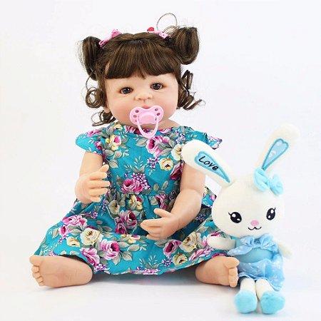 Bebê de Silicone Reborn Love Girl Inteira em Silicone 55cm - Promoção INÉDITA