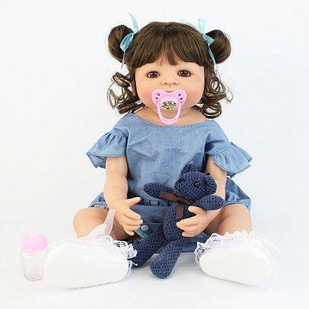 Bebê Reborn de Silicone Tamy Inteira em Silicone 55cm