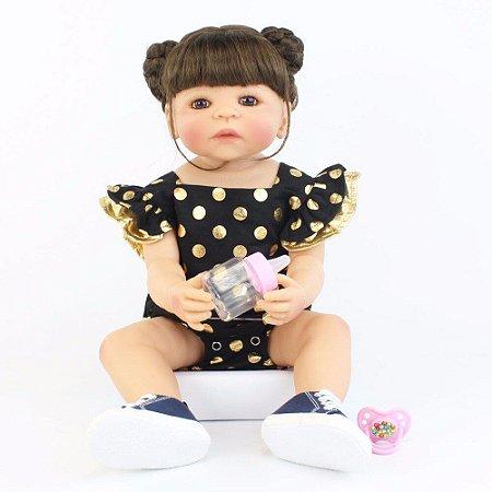 Bebê de Silicone Reborn Emilly Fashion Inteira em Silicone 55cm