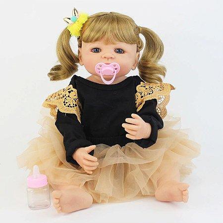 Bebê de Silicone Reborn Barbara  Inteira em Silicone 55cm