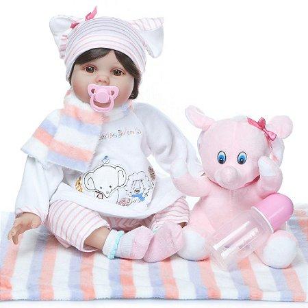 Bebê Reborn Ana Lívia com Cabelo Lindo e Ursinho 55 cm