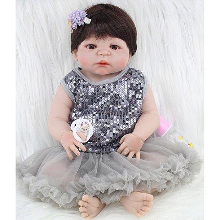 Bebê Reborn Viviane Inteira em Silicone 55cm