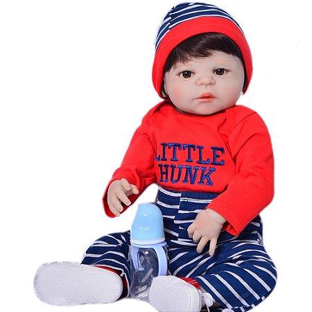 Bebê Reborn Pedro Little Hunk em Silicone 55cm - Pronta Entrega!