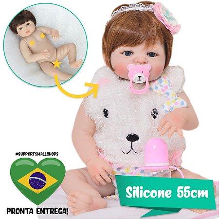 Bebê Reborn Gemma Ruiva 55cm em Silicone - Pronta Entrega!