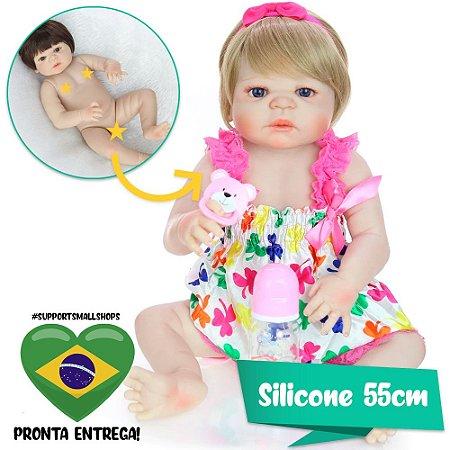 Bebê Reborn Engrácia Loira de Olhos Azuis 55cm - Pronta Entrega!