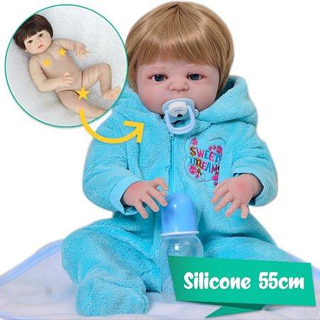 Bebê Reborn Rodolfo 55cm com Macacão Azul - Pronta Entrega!