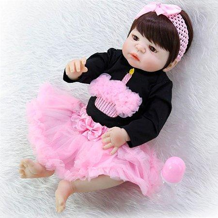 Bebê Reborn Carolina 55cm Lindo Vestido em Silicone - Pronta Entrega!