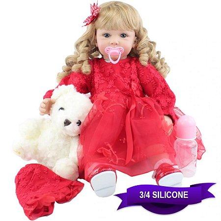 Bebê Reborn Glaucia 60cm com Vestido Vermelho e Ursinho Branco
