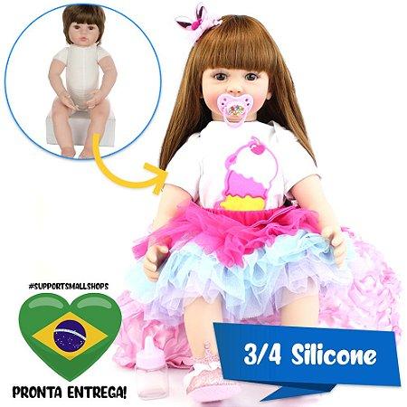 Bebê Reborn Clara 60cm em 3/4 Silicone com Roupinha de Sorvete - Pronta Entrega!