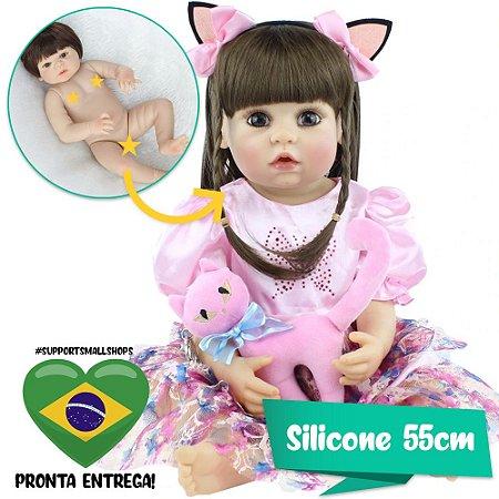 Bebê Reborn Priscila 55cm com Gatinho Rosa, Tiara e Pente - Pronta Entrega!