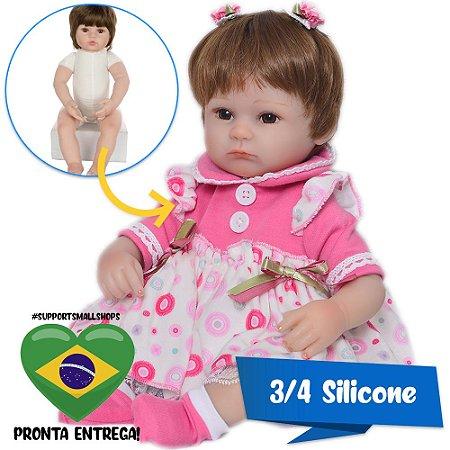 Bebê Reborn Pietra 3/4 Silicone 42cm com Vestido de Bolinhas - Pronta Entrega!