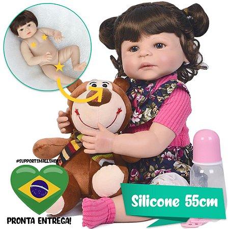 Bebê Reborn Ester 55cm com Pelúcia Sortida Grande - Pronta Entrega!
